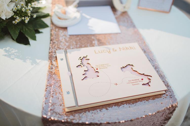 Laser Cut Wood Guest Book Rose Gold Sequin Table Runner Elegant Stylish Sorrento Destination Wedding http://www.francessales.co.uk/