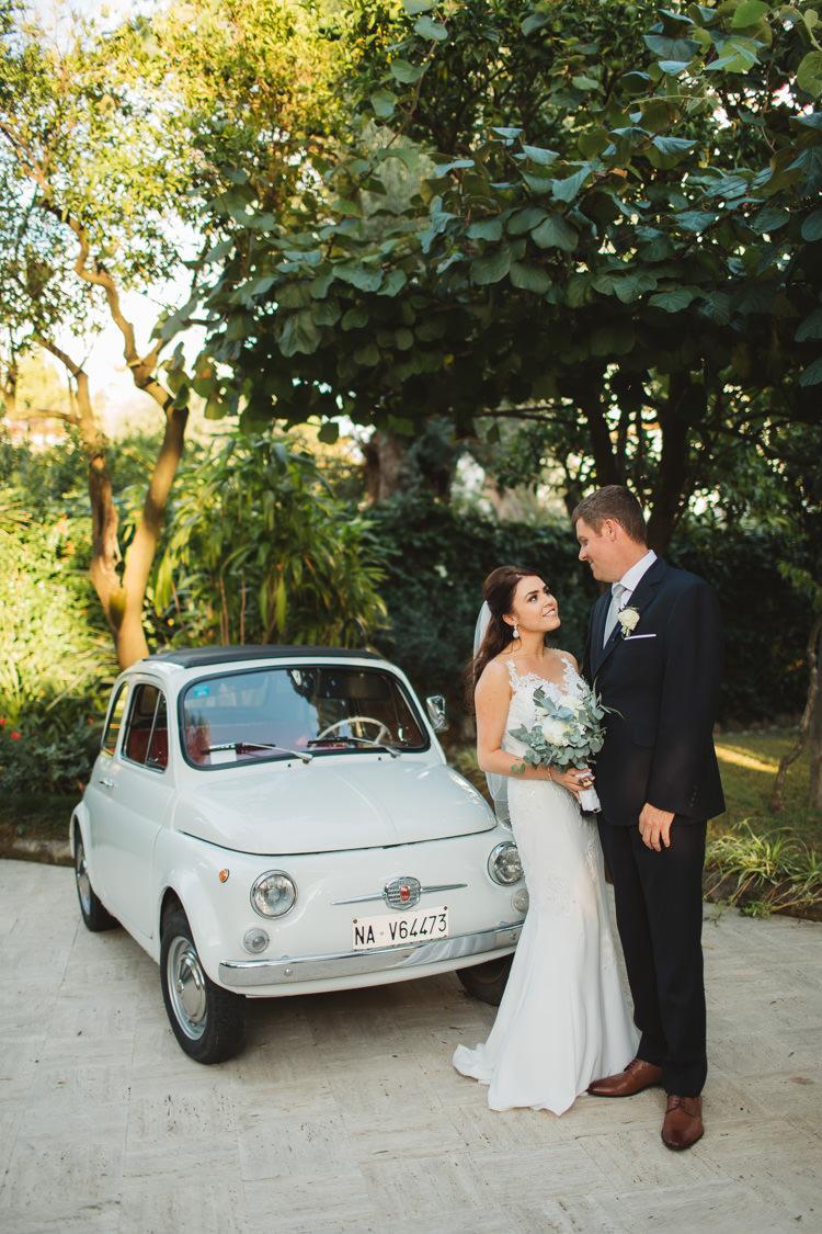 Bride Bridal Pronovias Gown Dress Bespoke Groom Bouquet White Greenery Rose Peony Gypsophila Elegant Stylish Sorrento Destination Wedding http://www.francessales.co.uk/