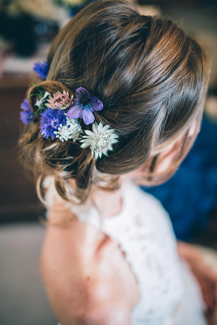 Hair Bride Bridal Style Up Do Flowers Wildflower Village Green Handfasting Wedding http://www.naomijanephotography.com/