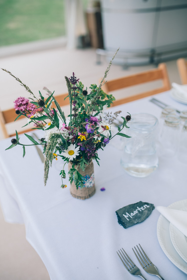 Flowers Hessian Jar Table Centrepiece Decor Wildflower Village Green Handfasting Wedding http://www.naomijanephotography.com/