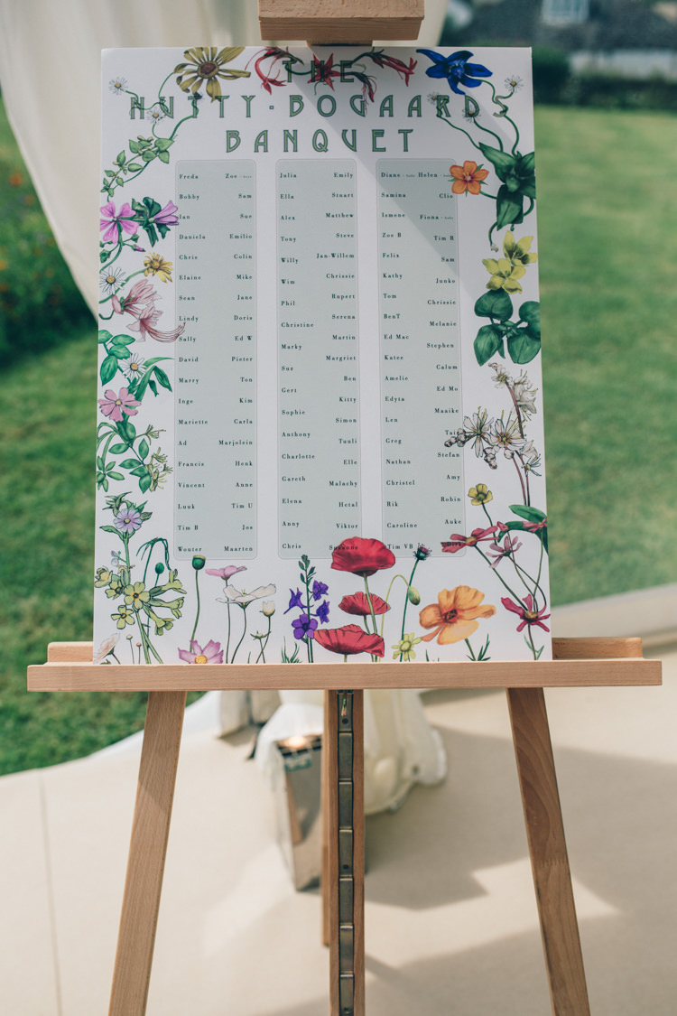Floral Flower Seating Plan Table Chart Wildflower Village Green Handfasting Wedding http://www.naomijanephotography.com/