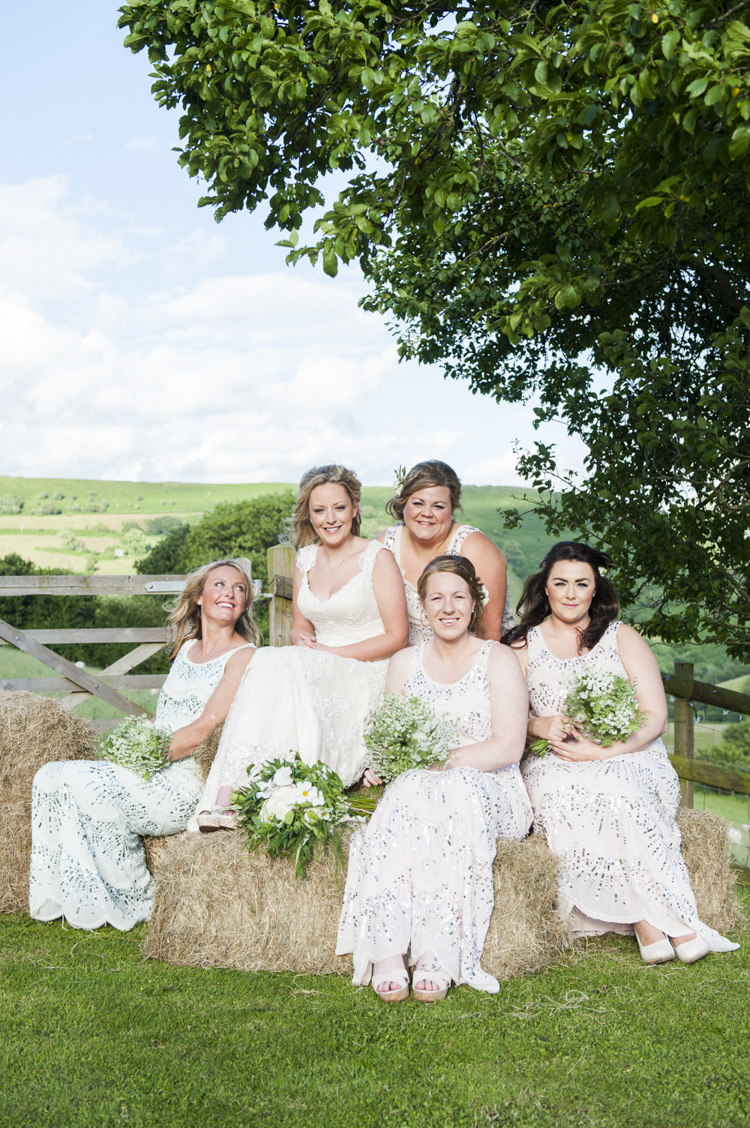 White Sequin Bridesmaid Dresses Chilled Country Boho White Green Wedding http://eleanorjaneweddings.co.uk/