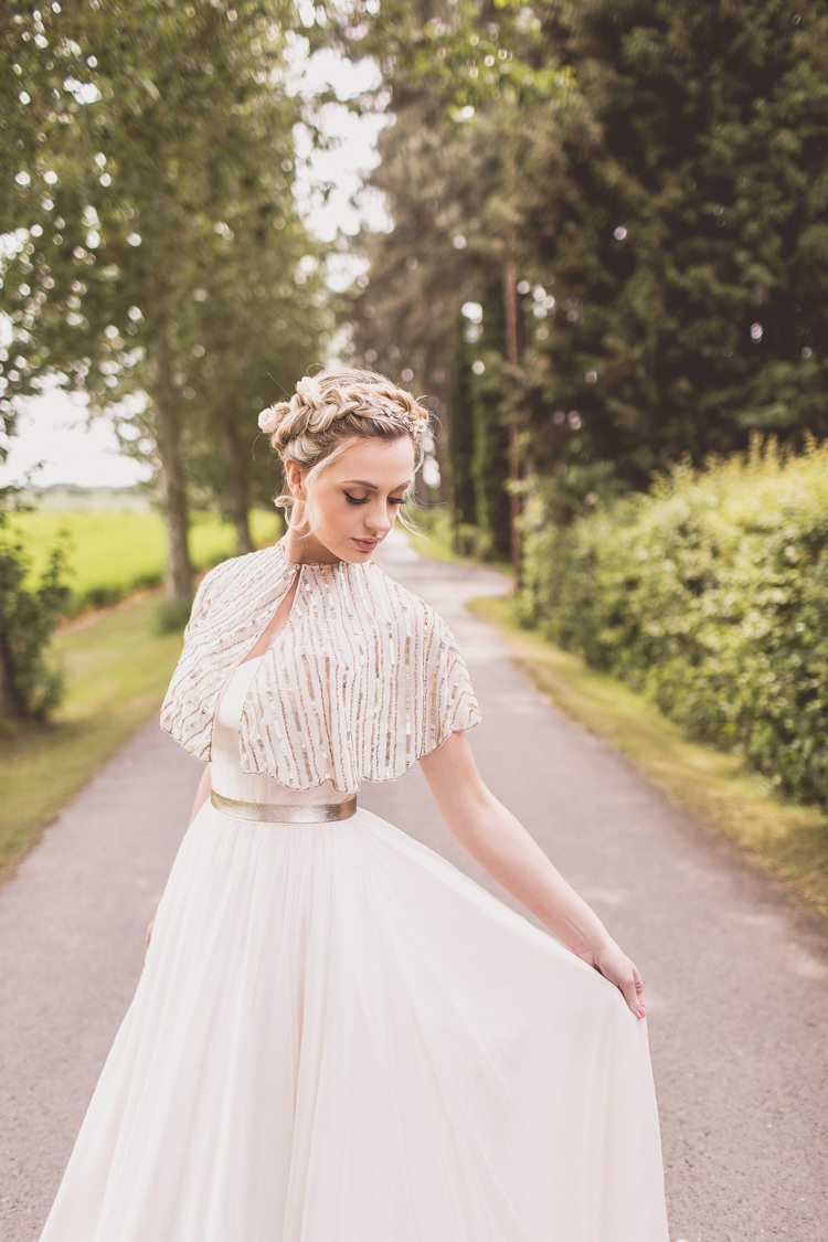 Sequin Cape Bride Bridal Accessory Rose Quartz Serenity Spring Wedding Ideas https://www.wearetheclarkes.com/