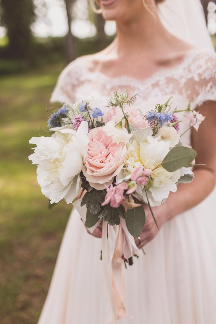Peonies Hydrangea Delphinium Rose Bouquet Flowers Pastel Bride Bridal Rose Quartz Serenity Spring Wedding Ideas https://www.wearetheclarkes.com/