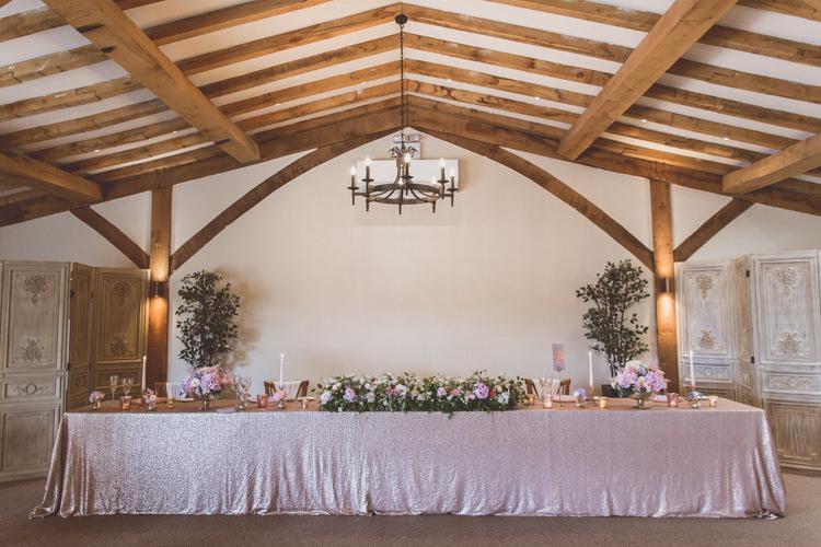 Top Table Sequin Cloth Rose Quartz Serenity Spring Wedding Ideas https://www.wearetheclarkes.com/