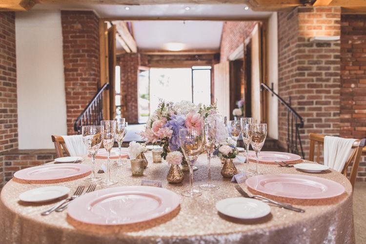Sequin Table Cloth Scape Decor Rose Quartz Serenity Spring Wedding Ideas https://www.wearetheclarkes.com/