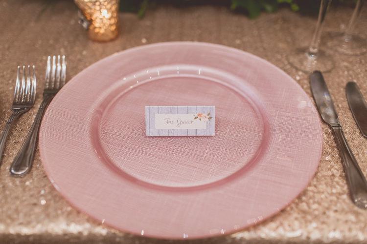 Pink Place Setting Plate Rose Quartz Serenity Spring Wedding Ideas https://www.wearetheclarkes.com/