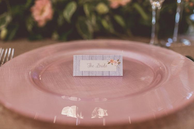 Floral Place Name Card Rose Quartz Serenity Spring Wedding Ideas https://www.wearetheclarkes.com/