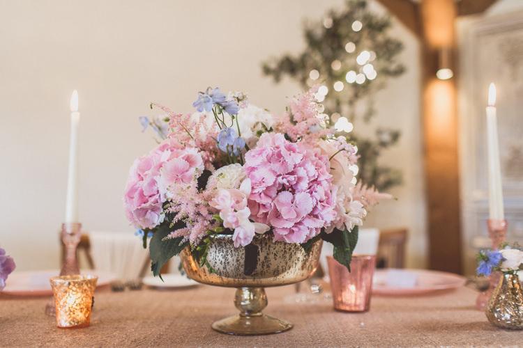 Peonies Hydrangea Delphinium Rose Bouquet Flowers Pastel Rose Quartz Serenity Spring Wedding Ideas https://www.wearetheclarkes.com/