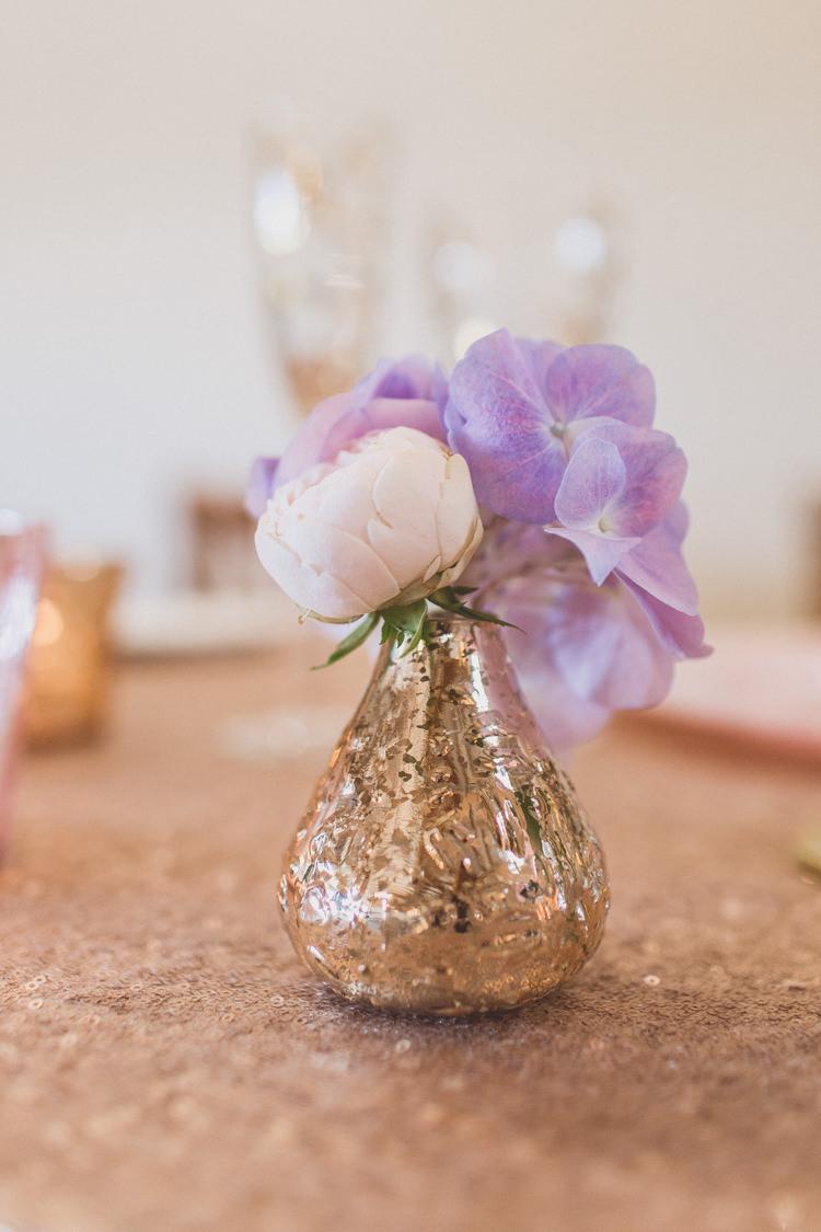 Gold Vase Flowers Sequin Table Cloth Rose Quartz Serenity Spring Wedding Ideas https://www.wearetheclarkes.com/