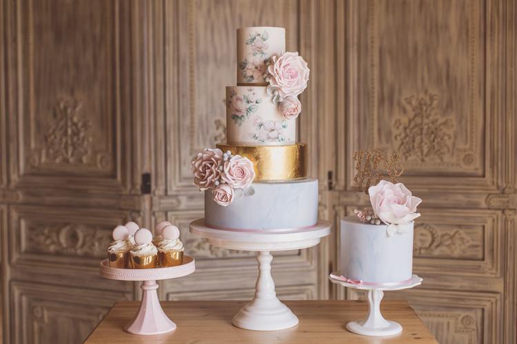 Cake Table Dessert Rose Quartz Serenity Spring Wedding Ideas https://www.wearetheclarkes.com/