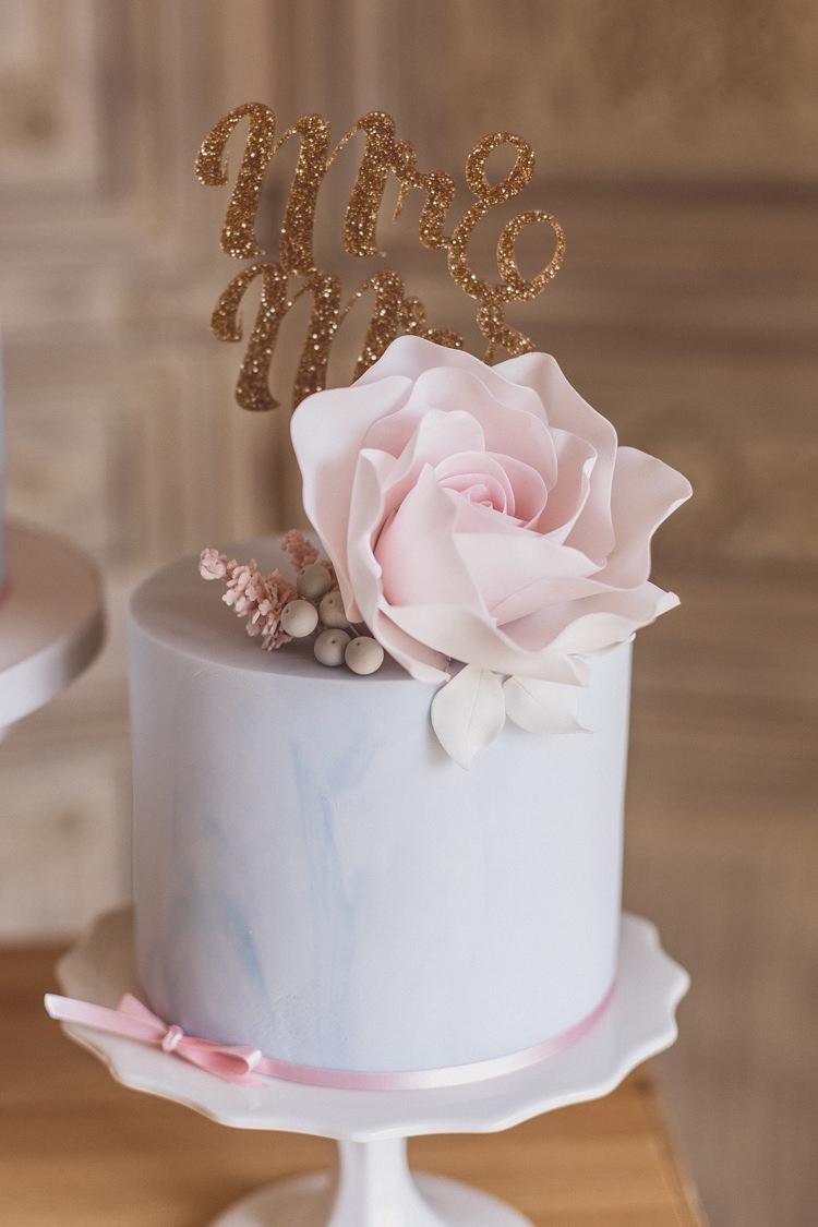 Pastel Cake Floral Rose Quartz Serenity Spring Wedding Ideas https://www.wearetheclarkes.com/