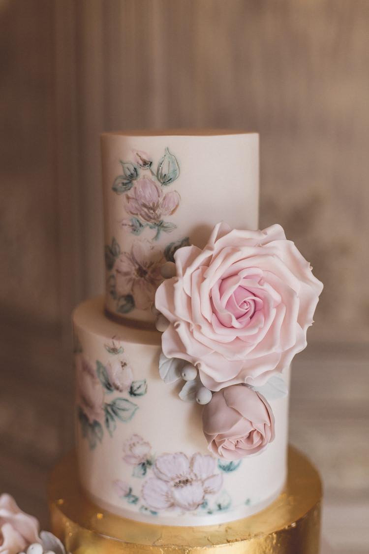 Floral Cake Rose Quartz Serenity Spring Wedding Ideas https://www.wearetheclarkes.com/
