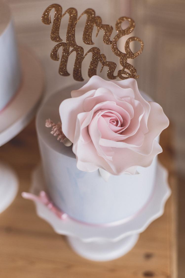 Glitter Cake Topper Rose Quartz Serenity Spring Wedding Ideas https://www.wearetheclarkes.com/