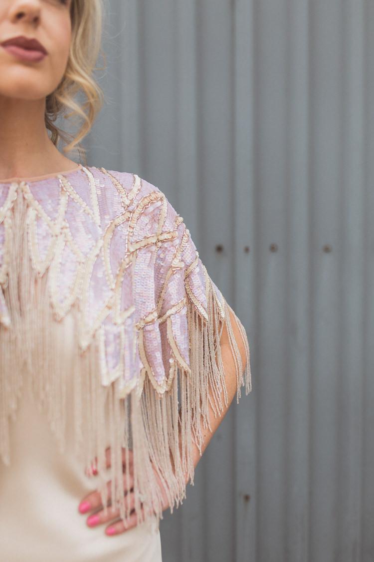 Sequin Tassel Cape Bride Bridal Accessory Rose Quartz Serenity Spring Wedding Ideas https://www.wearetheclarkes.com/