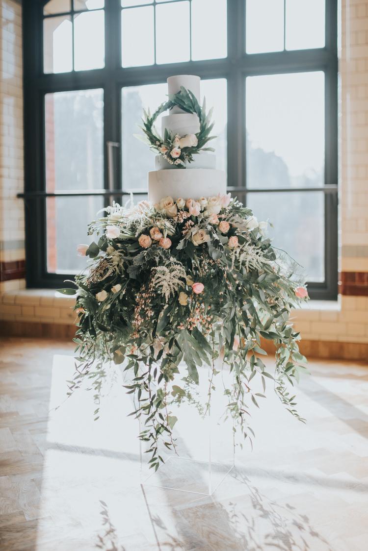 Cake Flowers Floral Foliage Botanical Wreath Industrial Into The Wild Greenery Wedding Ideas http://www.ivoryfayre.com/
