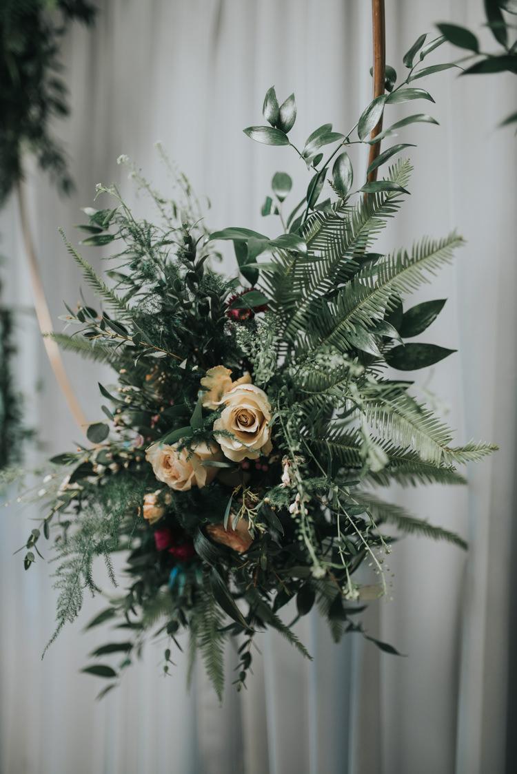 Hoop Flowers Foliage Rose Ivory Industrial Into The Wild Greenery Wedding Ideas http://www.ivoryfayre.com/