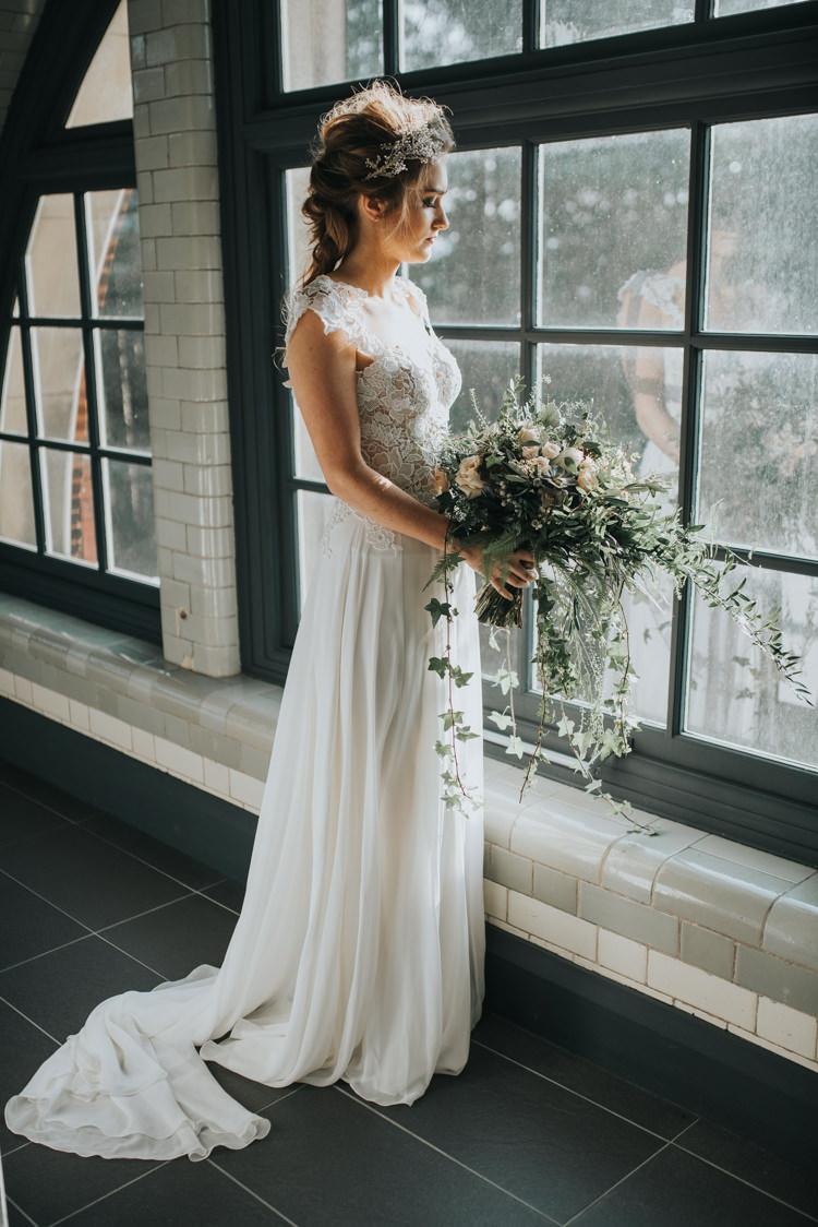 Dress Gown Bride Bridal Silk Industrial Into The Wild Greenery Wedding Ideas http://www.ivoryfayre.com/