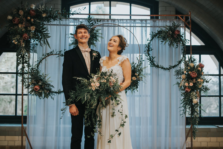 Ceremony Flowers Backdrop Hoops Foliage Industrial Into The Wild Greenery Wedding Ideas http://www.ivoryfayre.com/