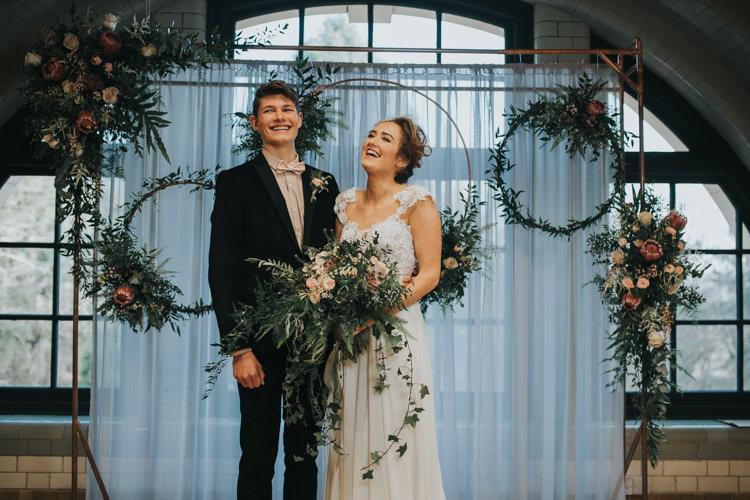 Ceremony Flowers Backdrop Hoops Foliage Industrial Into The Wild Greenery Wedding Ideas http://www.ivoryfayre.com/