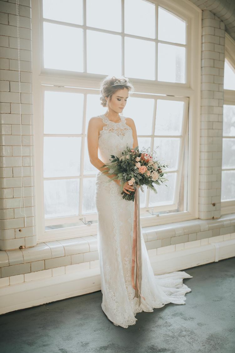 Dress Gown Bride Bridal Silk Lace Straps Halterneck Industrial Into The Wild Greenery Wedding Ideas http://www.ivoryfayre.com/