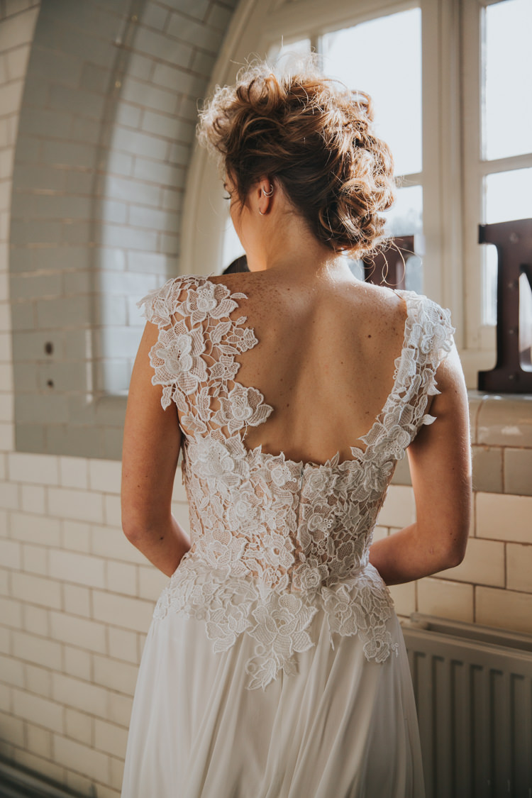 Dress Gown Back Bride Bridal Details Industrial Into The Wild Greenery Wedding Ideas http://www.ivoryfayre.com/