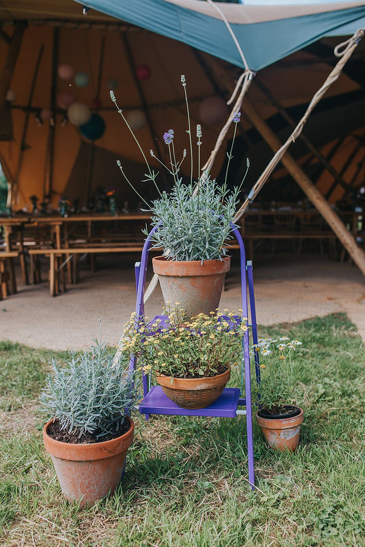 Potted Plants Ladder Stand Family Friendly Summer Tipi Outdoor Wedding http://www.brookrosephotography.co.uk/