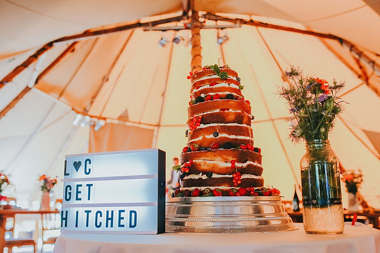 Light Box Sign Cake Table Family Friendly Summer Tipi Outdoor Wedding http://www.brookrosephotography.co.uk/