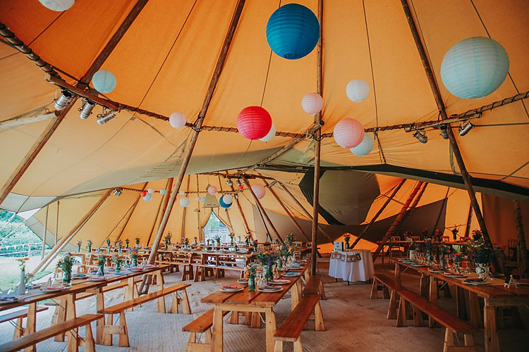 Colourful Lanterns Hanging Family Friendly Summer Tipi Outdoor Wedding http://www.brookrosephotography.co.uk/