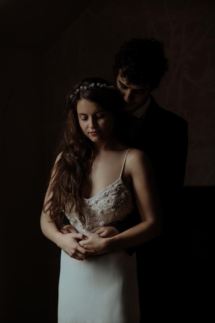 Bride Beaded Chiffon Bridal Gown Pearl Headband Groom Tailored Black Suit White Shirt Black Tie Breathtaking Wild Scotland Elopement http://www.theferros.com/