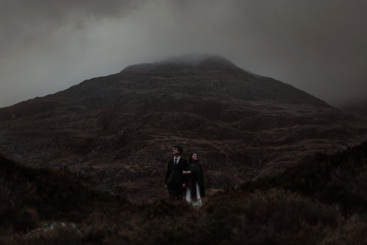 Bride Beaded Chiffon Bridal Gown Black Wrap Groom Black Tailored Suit White Shirt Black Tie Breathtaking Wild Scotland Elopement http://www.theferros.com/