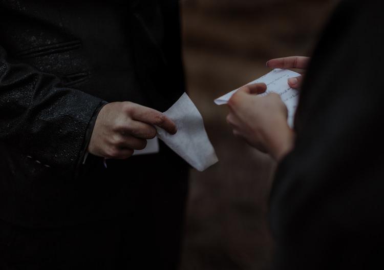 Bride Groom Handwritten Vows Rain Breathtaking Wild Scotland Elopement http://www.theferros.com/