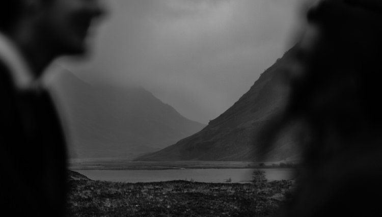 Bride Groom Hills Lake Rain Clouds Breathtaking Wild Scotland Elopement http://www.theferros.com/