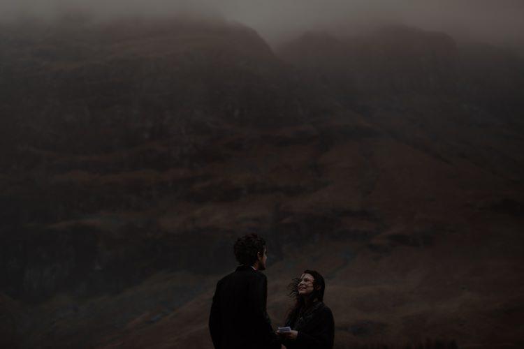 Bride Groom Clouds Rain Wind Exchanging Vows Breathtaking Wild Scotland Elopement http://www.theferros.com/