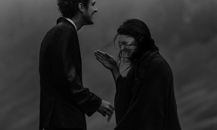 Bride Black Wrap Groom Tailored Black Suit Rain Wind Laughs Breathtaking Wild Scotland Elopement http://www.theferros.com/