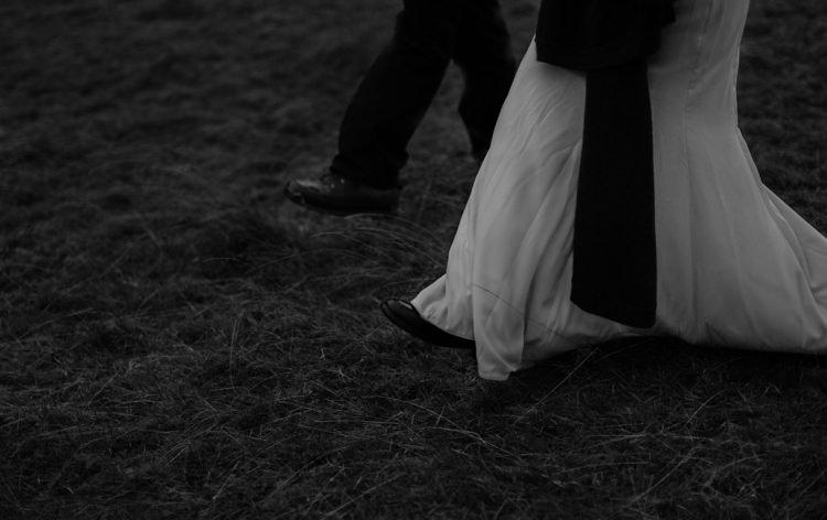 Bride Beaded Chiffon Bridal Gown Black Wrap Groom Tailored Black Suit Breathtaking Wild Scotland Elopement http://www.theferros.com/