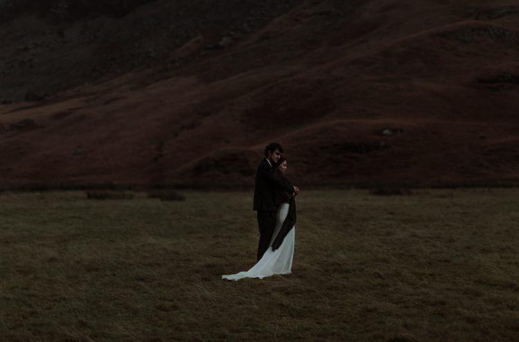 Bride Beaded Chiffon Bridal Gown Black Wrap Groom Black Tailored Suit White Shirt Hills Rain Breathtaking Wild Scotland Elopement http://www.theferros.com/