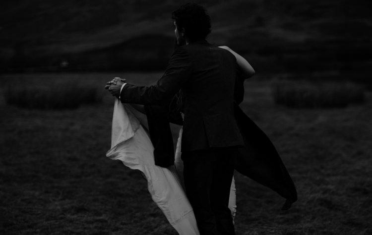 Bride Beaded Chiffon Bridal Gown Black Wrap Groom Tailored Black Suit Dancing Breathtaking Wild Scotland Elopement http://www.theferros.com/