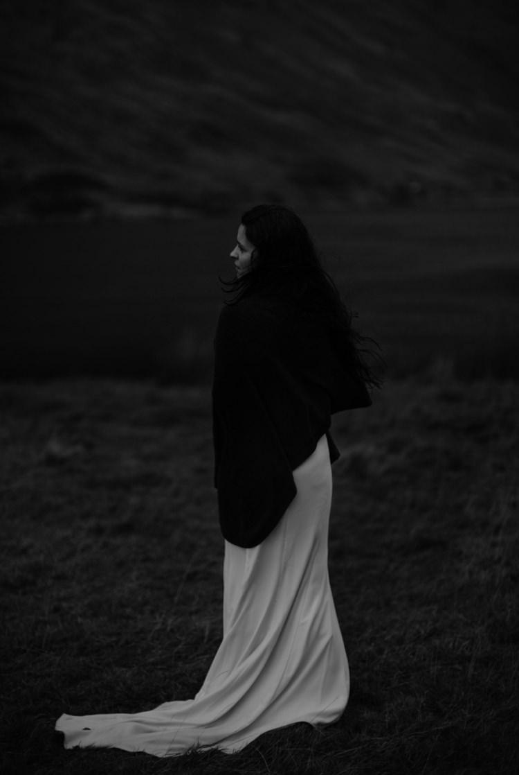 Bride Beaded Chiffon Bridal Gown Black Wrap Breathtaking Wild Scotland Elopement http://www.theferros.com/