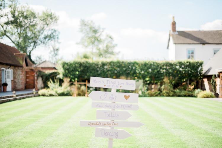 Sign Post White Painted Modern Rustic Ivory Barn Wedding http://vickylamburn.com/