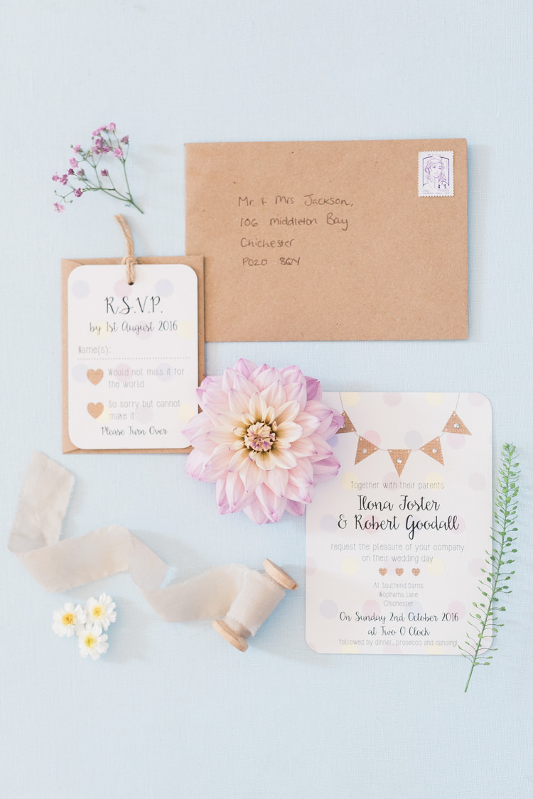 Bunting Stationery Invitations Norma Dorothy Modern Rustic Ivory Barn Wedding http://vickylamburn.com/