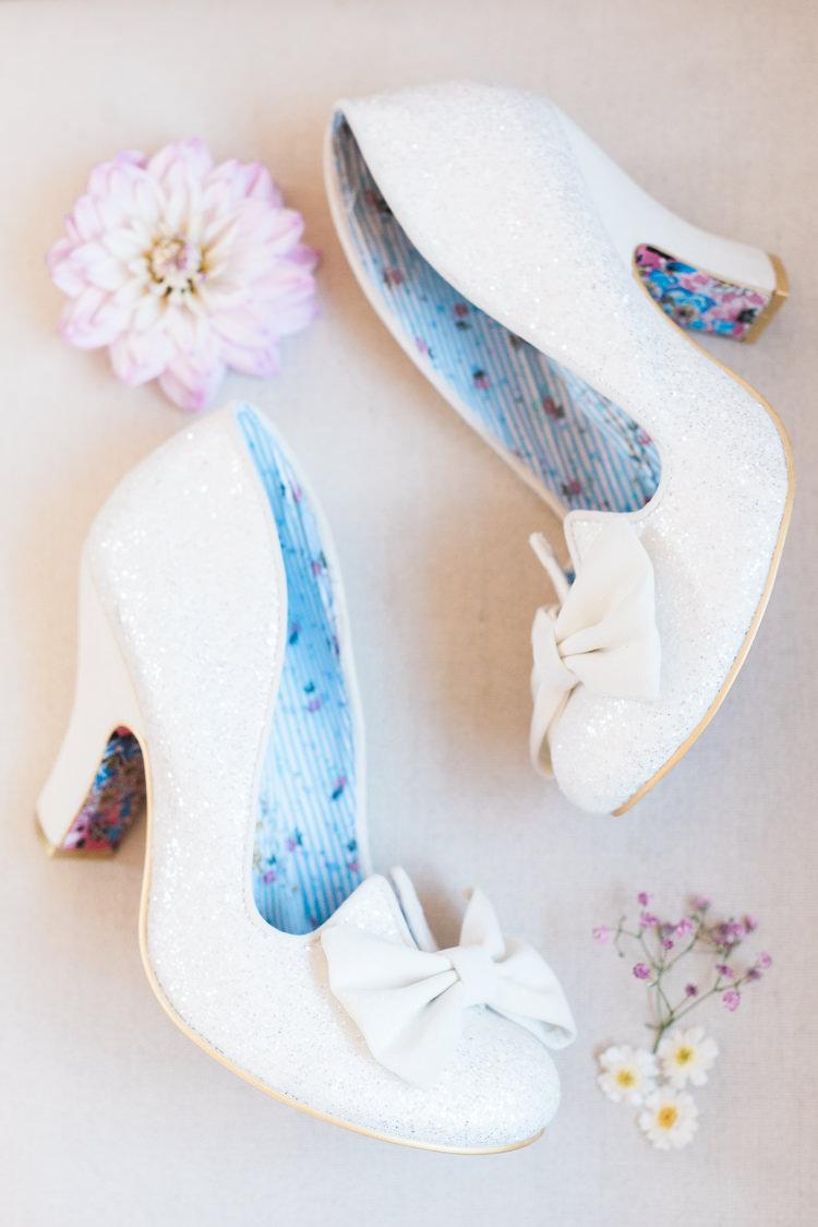 Glitter Shoes Bows Bridal Bride Irregular Choice Modern Rustic Ivory Barn Wedding http://vickylamburn.com/