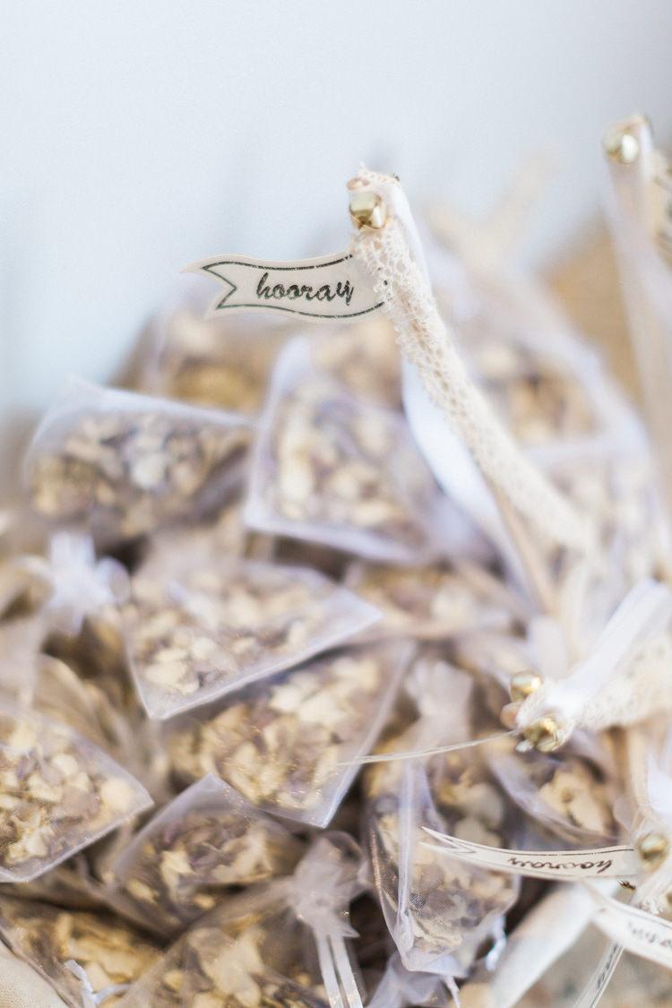 Hooray Flags Confetti Bags Modern Rustic Ivory Barn Wedding http://vickylamburn.com/