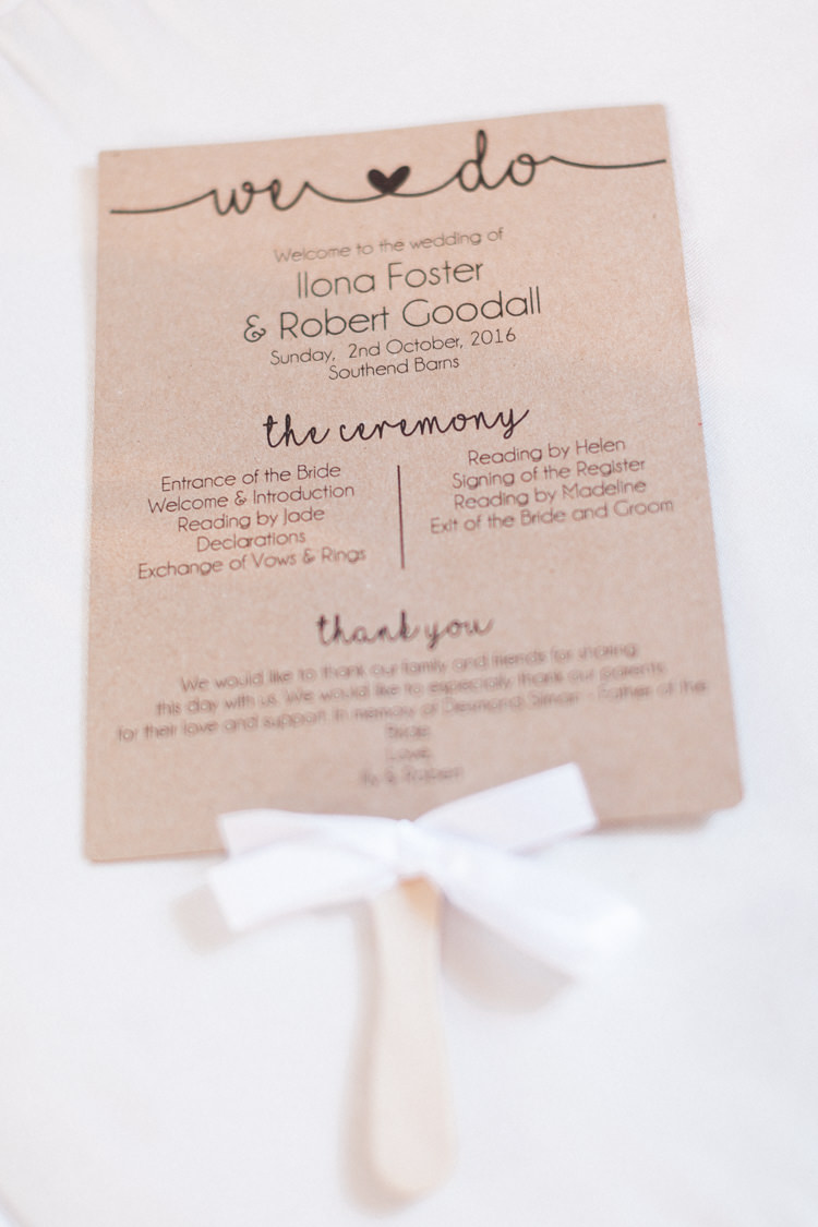 Order of Service Stick Kraft Brown Paper Stationery Modern Rustic Ivory Barn Wedding http://vickylamburn.com/
