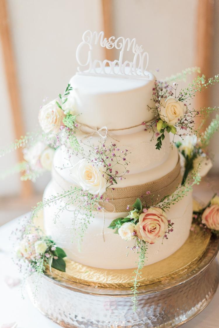 Hessian Burlap Lace Cake Flowers Modern Rustic Ivory Barn Wedding http://vickylamburn.com/
