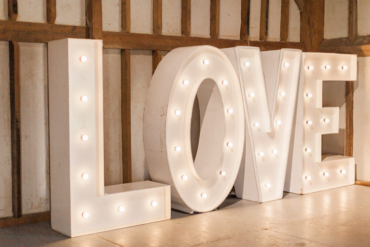 LOVE Letters Lights Modern Rustic Ivory Barn Wedding http://vickylamburn.com/