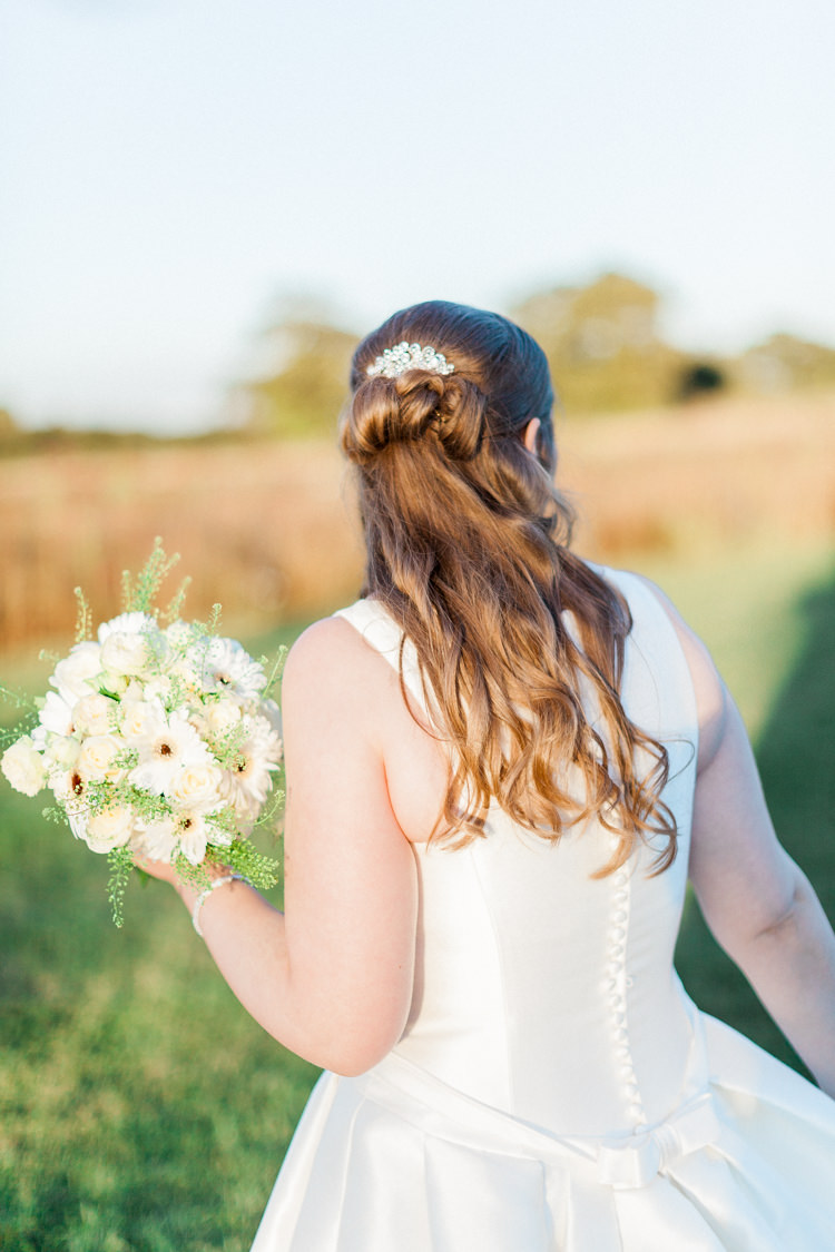 Hair Bride Bridal Half Up Down Curls Modern Rustic Ivory Barn Wedding http://vickylamburn.com/