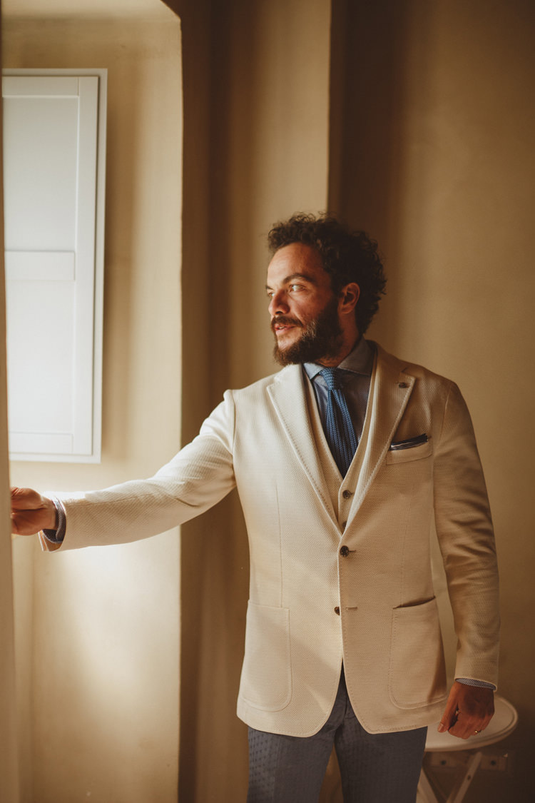 Cream Jacket Groom Style Attire Outfit Beautifully Intimate Open Air Wedding Umbria http://www.edpeers.com/