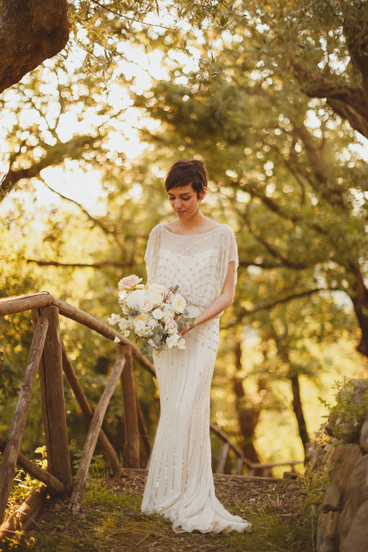 Jenny Packham Dress Gown Bride Bridal Embellished Sequin Beautifully Intimate Open Air Wedding Umbria http://www.edpeers.com/