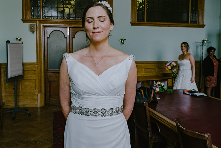First Look Grecian Belt V Neck Hairpiece Brides Bridal Colourful Fun Party Brighton Wedding http://jmcsweeneyphotography.co.uk/
